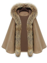 Hooded Big Faux Fur Lapel with One Button Women's Cape