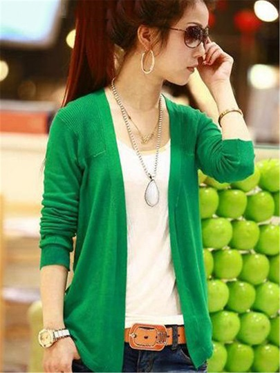 Korean Style Long Sleeves Knit Asymmetrical Cardigan