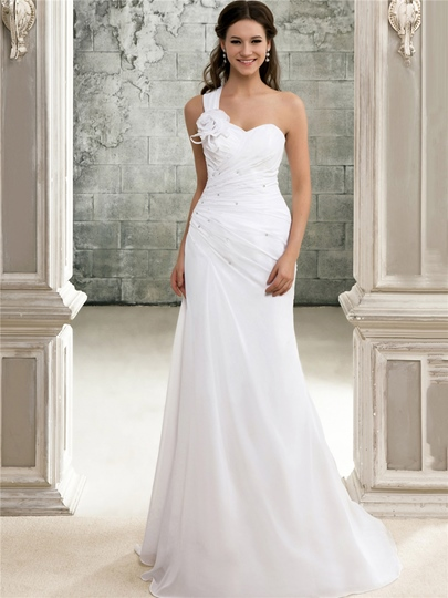 One-Shoulder Pleats Beach Wedding Dress