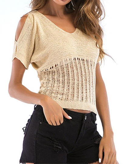 Cold Shoulder Slim Fit Knitted Women's T-Shirt