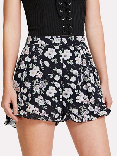Floral Print High Waist Ruffle Women's Shorts