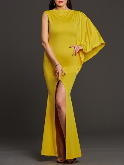 Yellow Bodycon Split Asym Women's Maxi Dress