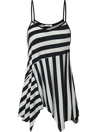 Stripe Flowy Straps Mid Length Women's Tank Top