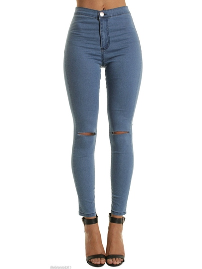 Knee Rips Raw Hem Skinny Ankle Women's Jeans