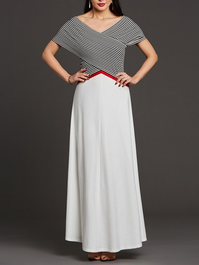 White Striped Cap Sleeve Women's Maxi Dress