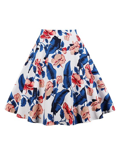Floral Print Graceful High Waisted Women's Skirt