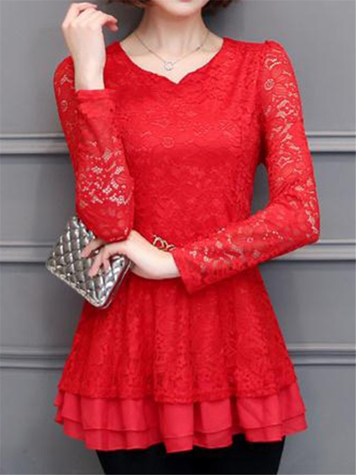 Peplum Tight Waist Women's Lace Blouse