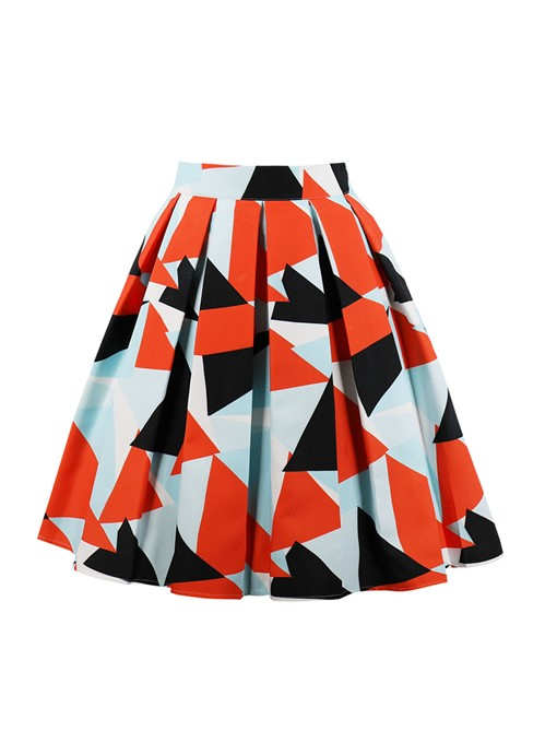 Color Block A line Pleated Women's Skirt