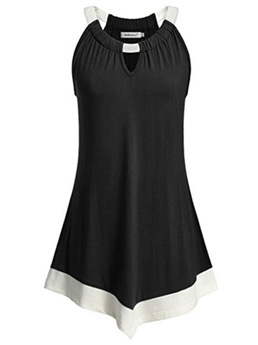Halter Neck Color Block Pleated Women's Tank Top