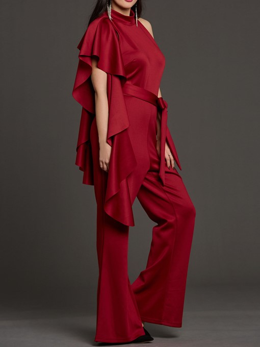 Asymmetrical Falbala Wide Legs Women's Jumpsuits