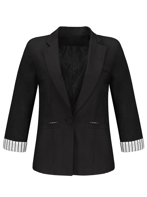Notched Lapel Stripe Color Block Women's Blazer