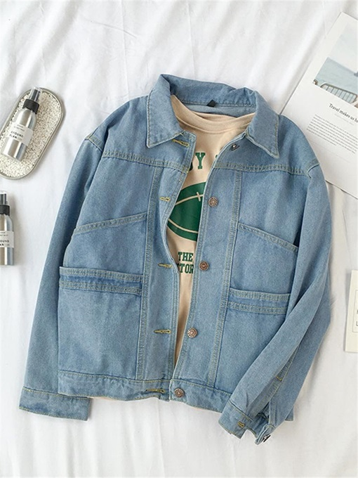 Denim Button Up Wide Pocket Women's Jacket