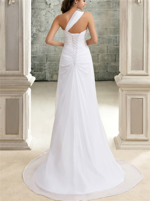 One-Shoulder Beading Pleats Beach Wedding Dress