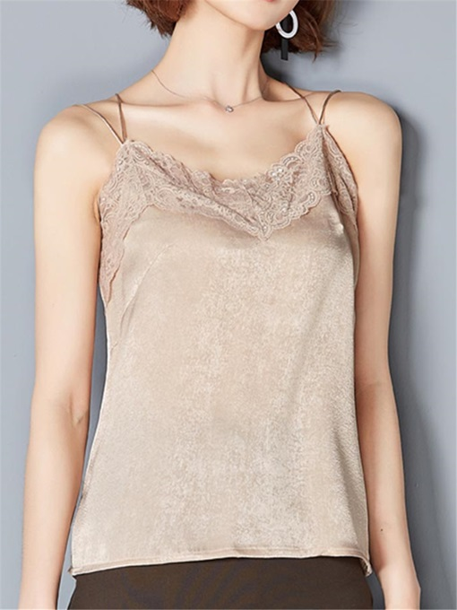 Loose Lace Patchwork Halter Women's Tank Top