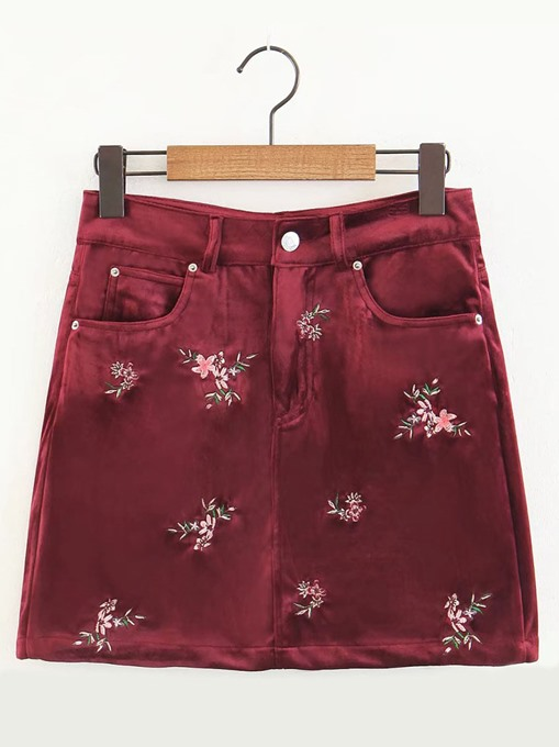 A Line Floral Embroidery Pocket Women's Mini Skirt