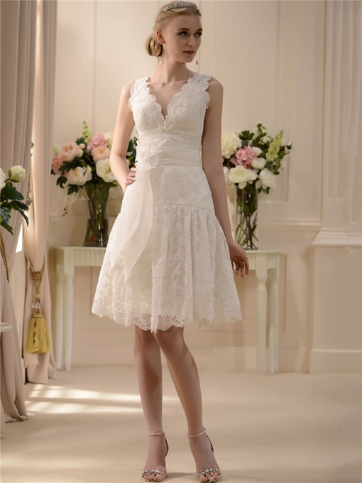 V-Neck Lace Short Wedding Dress