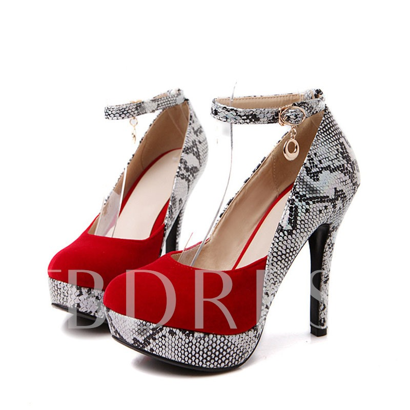 Round Toe Stiletto Heel Patchwork Chain Platform Women's Pumps