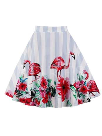 Flamingo Print High Waisted Women's Skirt