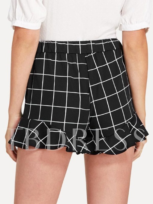 Plaid Ruffle High Waisted Women's Shorts
