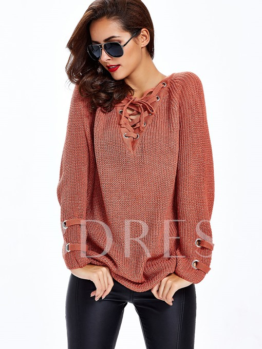 Pure Color Loose Lace-Up Women's Sweater