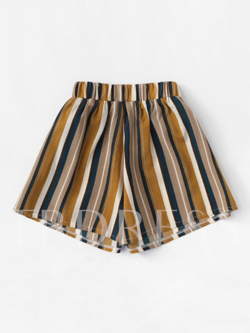 Color Block Stripe Elastic Women's Shorts