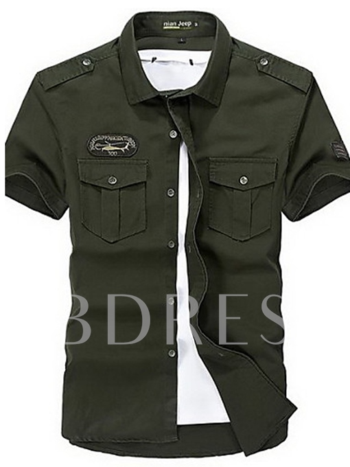 Military Plus Size Cotton Slim Men's Shirt - Solid Colored Classic Collar