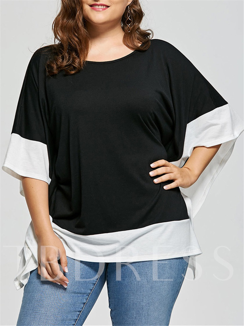 Simple Plus Size Batwing Sleeve Women's T-Shirt