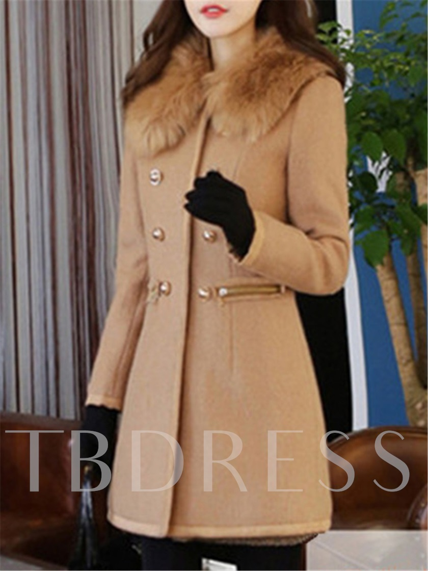 Solid Color Thick Woolen Women's Overcoat