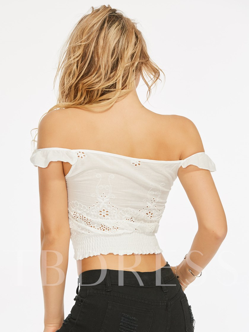 Off Shoulder Lace Up Ruched Women's Crop Top