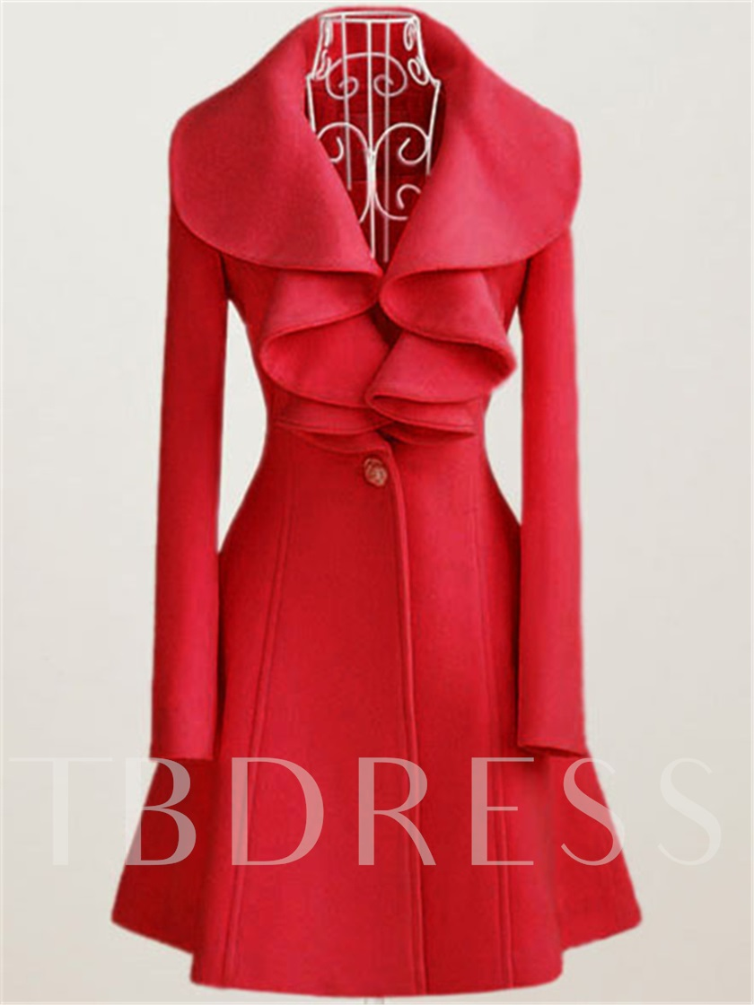 Solid Color Ruffle Collar Falbala Lapel Sweet Women's Overcoat