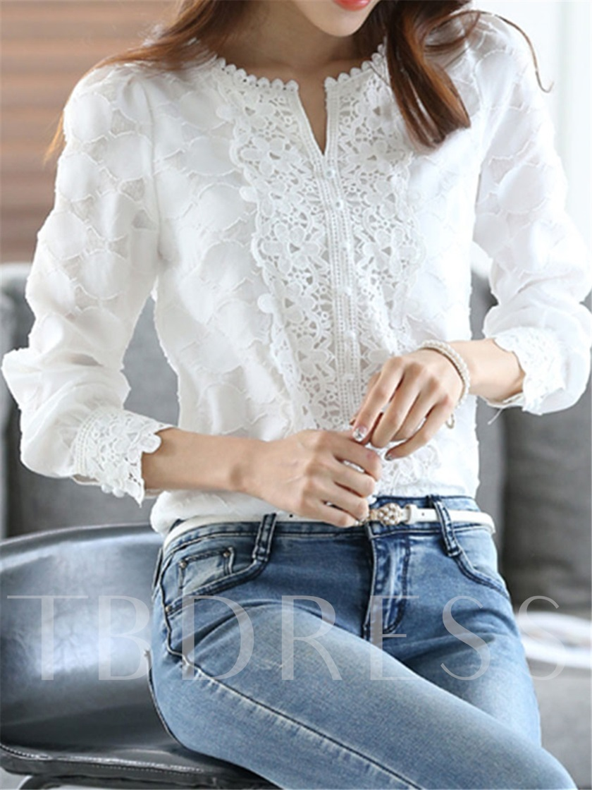 Small V-Neck Lace Wrapped Women's Blouse