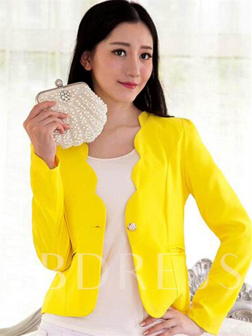 Solid Color Scallop Cut Slim Women's Blazer