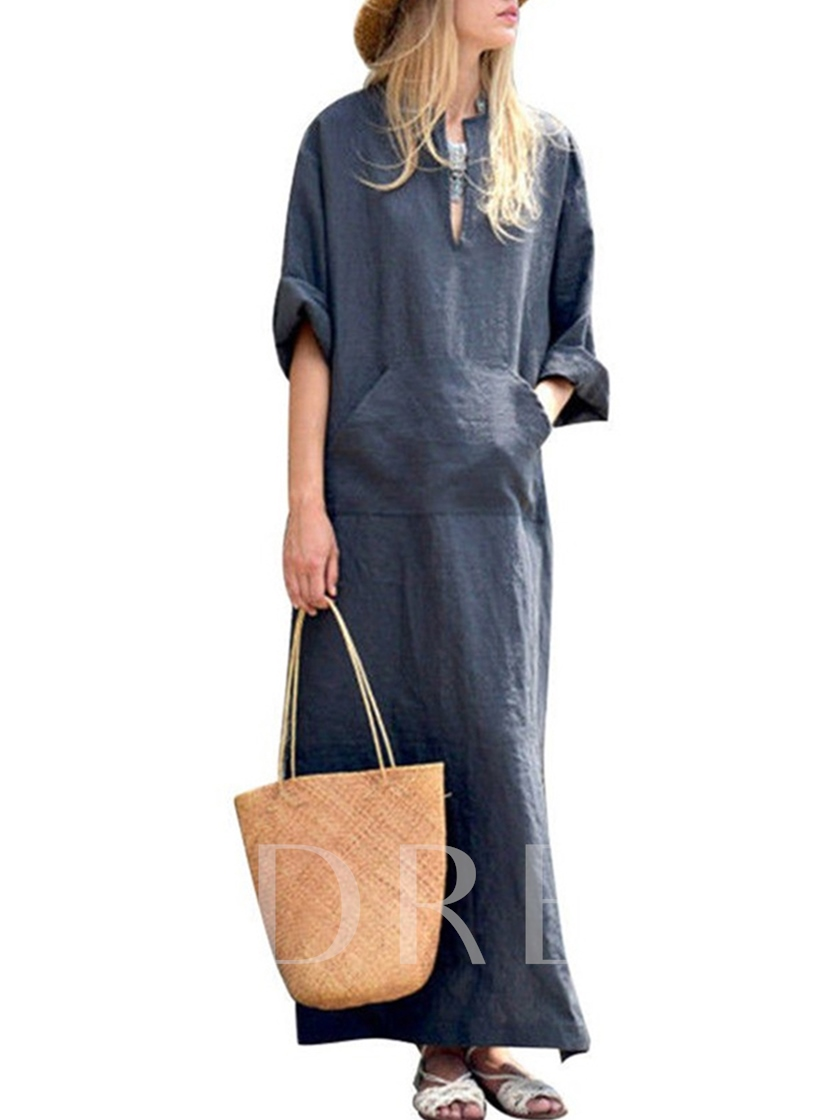 Long Sleeve Plain Casual Maxi Dress