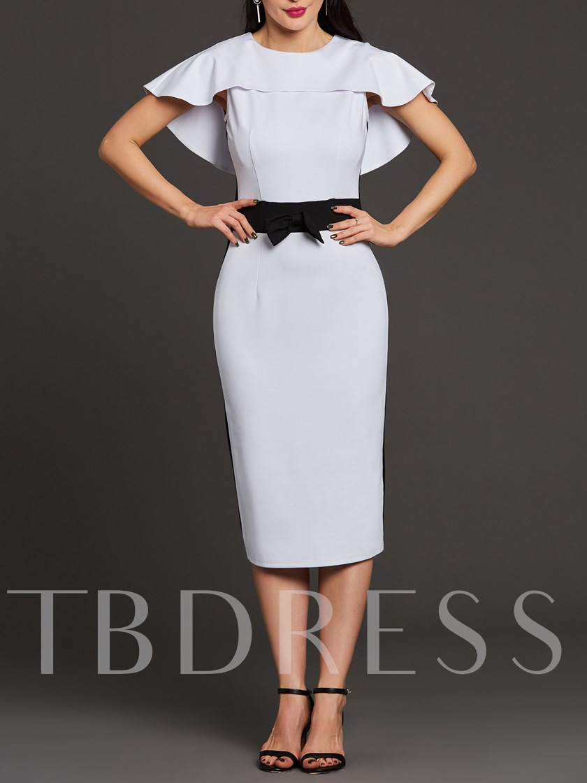 White Knot Decorated Bodycon Women's Cape Dress