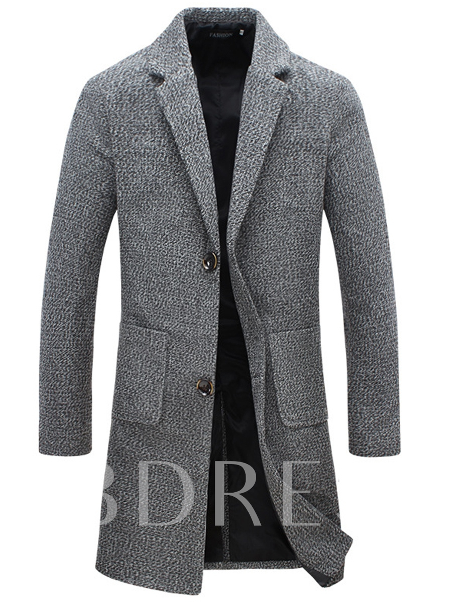 Buy Notched Collar Double Button Pocket Solid Color Slim Men's Woolen Coat, Fall,Winter, 12975420 for $45.99 in TBDress store