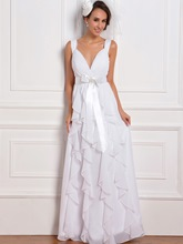 Empire Straps Ruffles Beach Wedding Dress