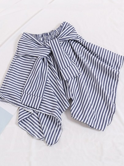 Asymmetric Stripe Self-Tied Women's Skirt