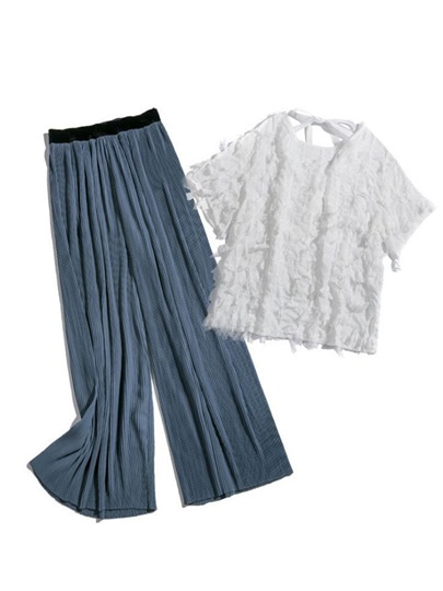 Lace Blouse and Pleated Pants Women's Two Piece Set