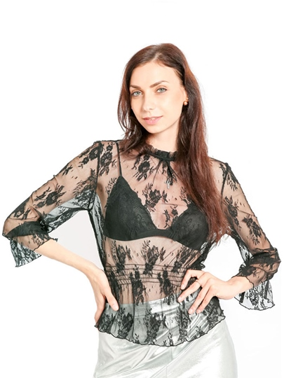 Sheer Lace Patchwork Stand Collar Women's Blouse