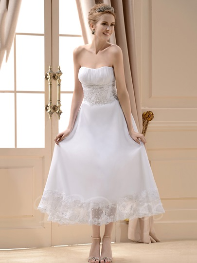 A-Line Strapless Tea-Length Beach Wedding Dress