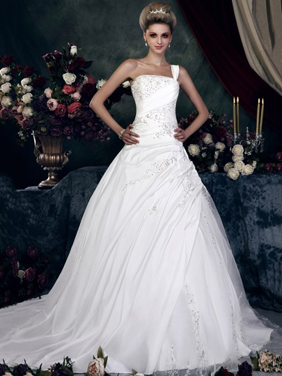 One-Shoulder Appliques Taffeta Wedding Dress