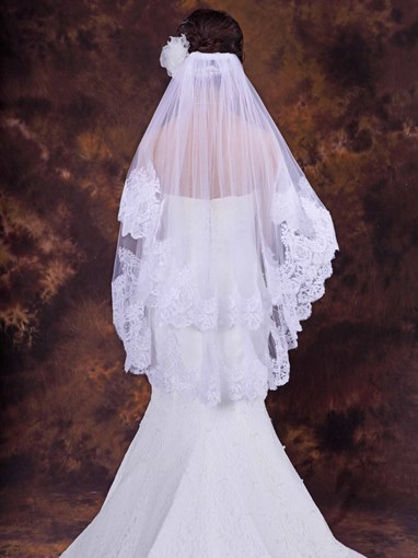 Wedding Bridal Veil with Floral Edge