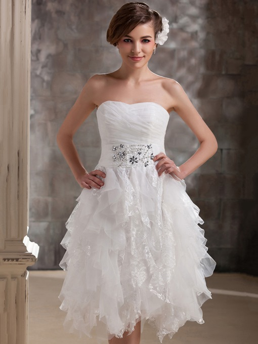 Sweetheart Ruffles Beading Beach Wedding Dress