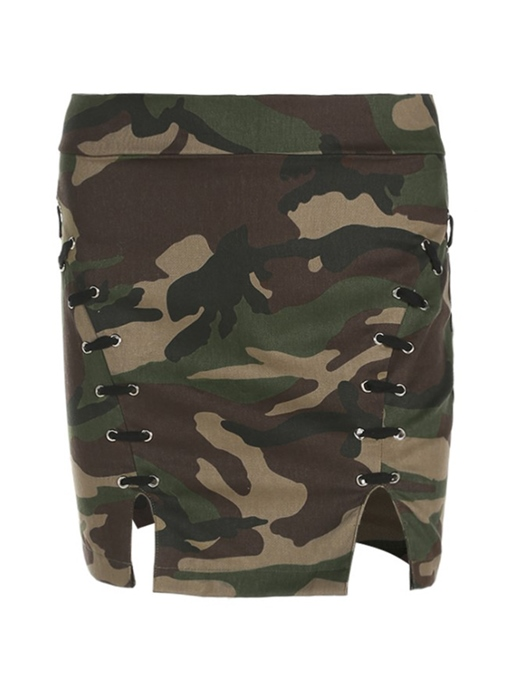 Camouflage Print Side Lace Up Women's Mini Skirt