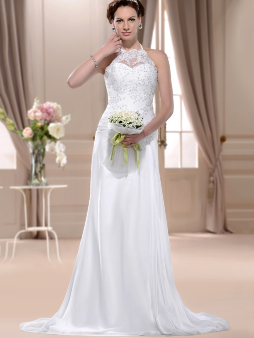 Sheath Halter Appliques Chiffon Wedding Dress