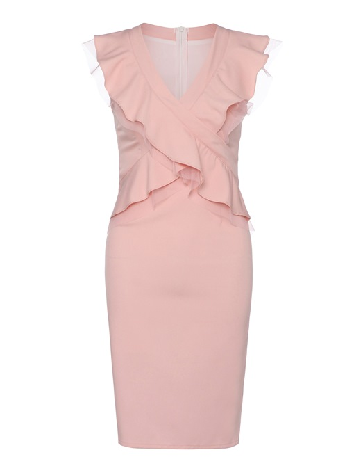 Pink V Neck Double-Layered Women's Bodycon Dress