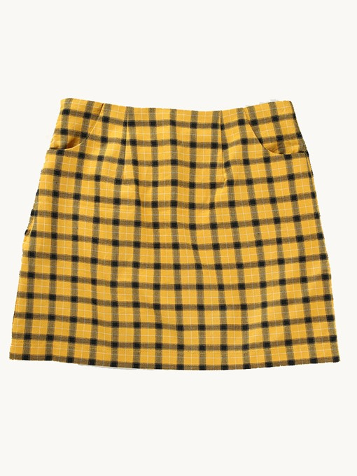 Plaid Pocket Bodycon Women's Mini Skirt