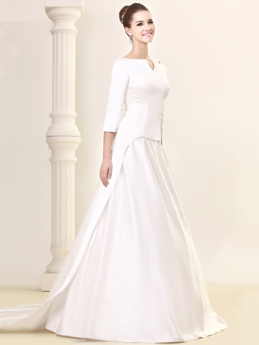 3/4-Length Sleeve Bateau Neck Vintage Wedding Dress