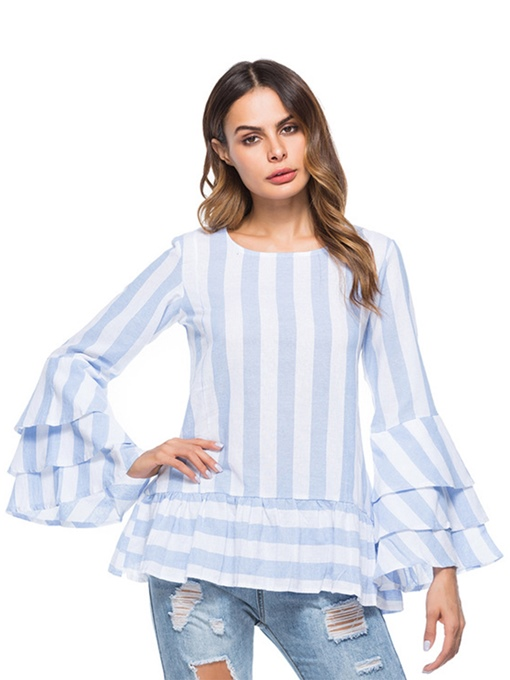 Layered Falbala Ruffle Sleeve Stripe Women's Blouse