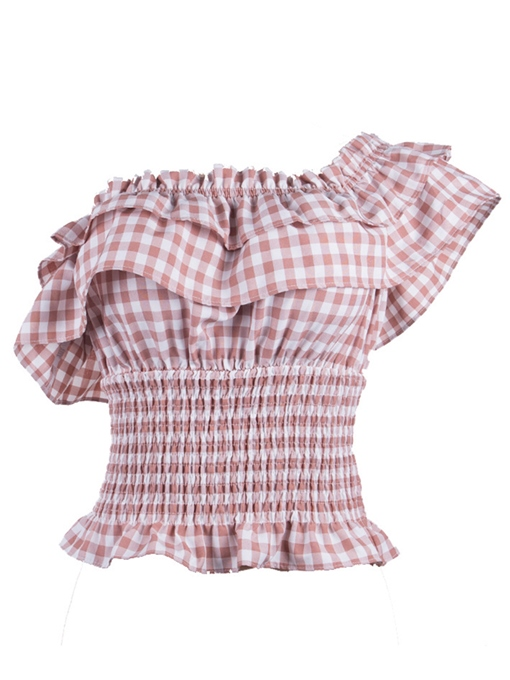 Plaid Falbala Off Shoulder Women's Blouse(Mutil-Way Wear)